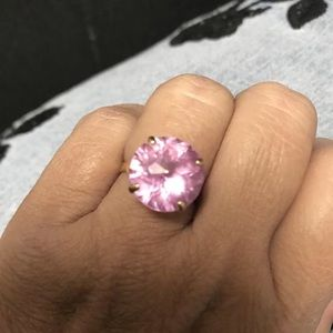 Vintage Large 14K Gold Round PINK Sapphire Ring